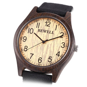 Bewell Bamboo Dark Wood Watch with Canvas Strap