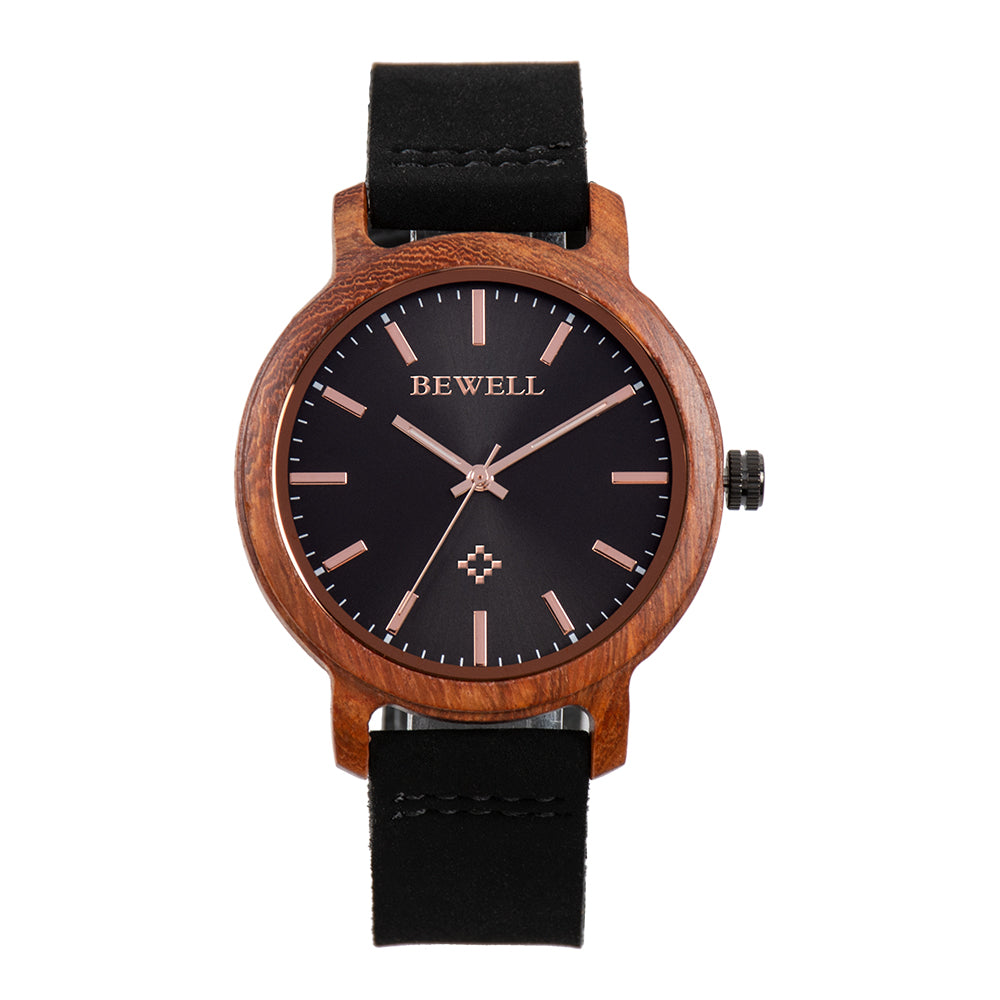 Bewell Red Sandalwood Wood Watch with Leather Strap