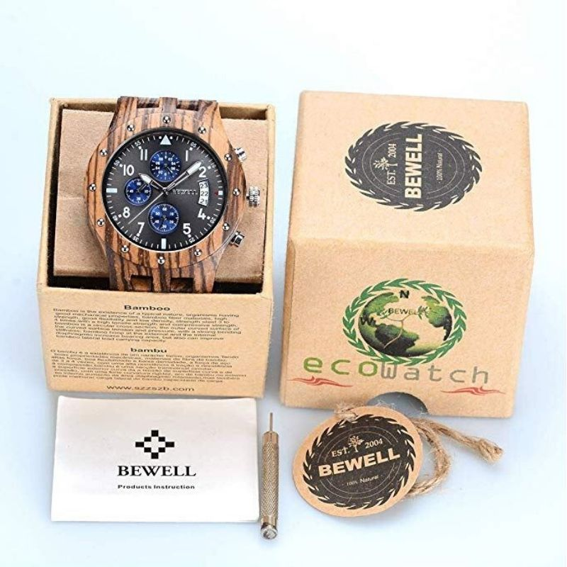 Bewell Chronograph Zebral Wood Watch