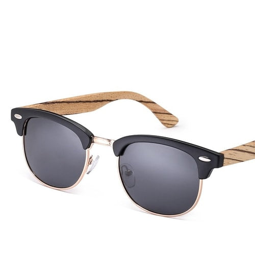 Club Master Zebra Wood Polarized Sunglasses.