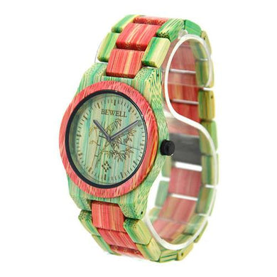 Bewell UniSex Pink & Green Bamboo Wood Watch