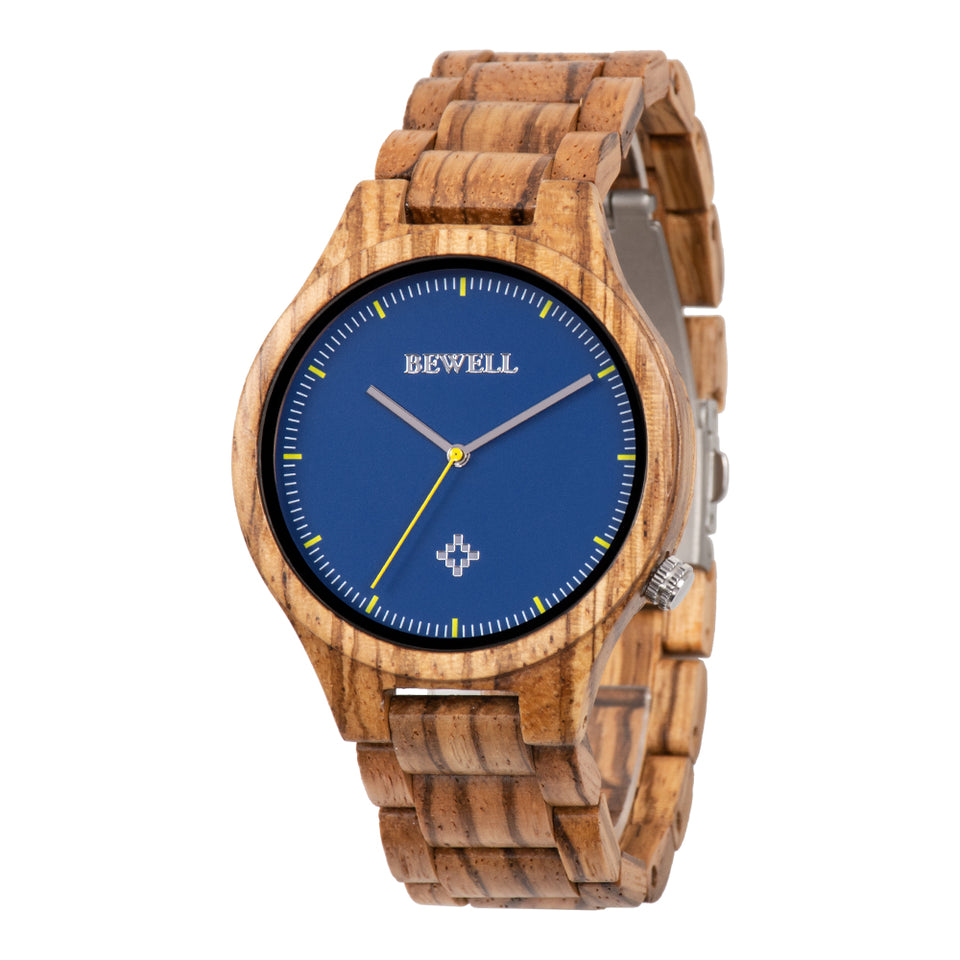 Bewell Executive Bamboo Zebra Wood Watch