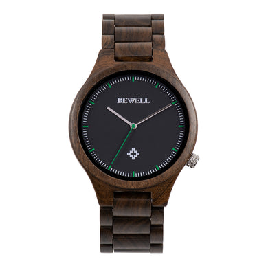 Bewell Executive Bamboo Black Sandalwood Wood Watch