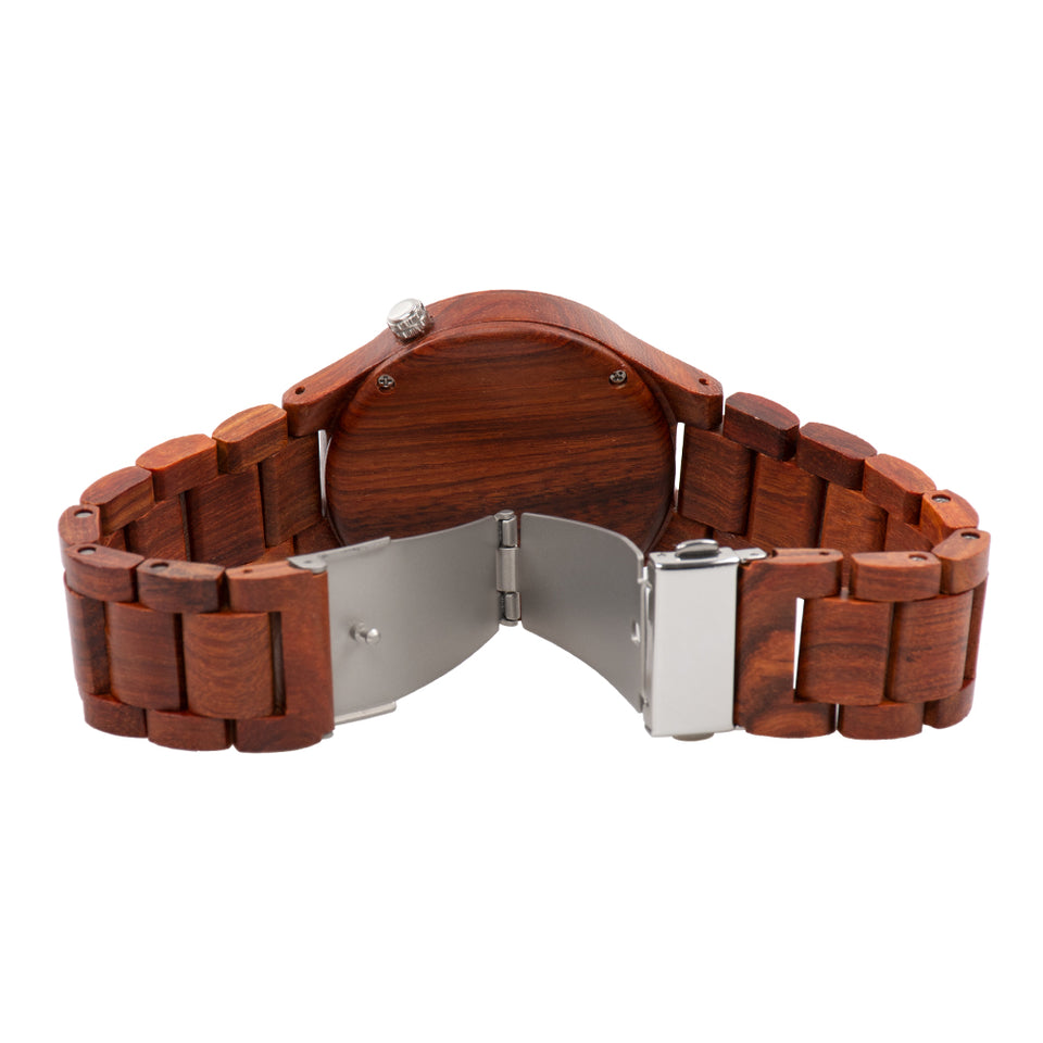Bewell Executive Bamboo Red Sandalwood Wood Watch