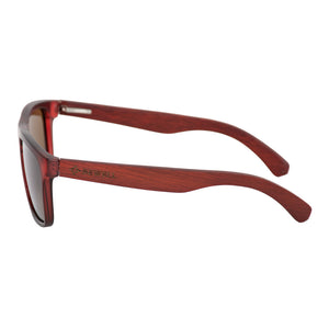 Wayfarer Style Wine Red Frame and Revo Red Lens Wood Sunglasses