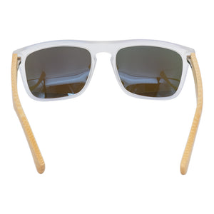 Wayfarer Style PC Frame and Blue Lens Wood Sunglasses