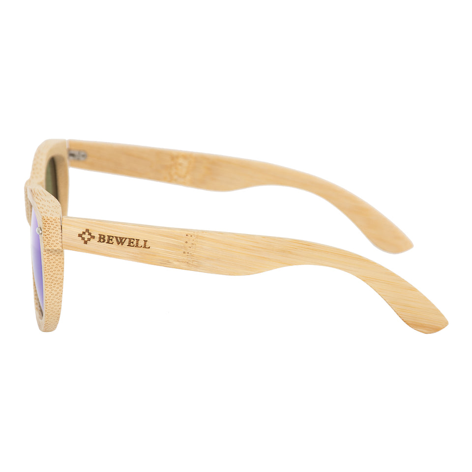 Bamboo Frame and Blue/Green Polarized Lens Wood Sunglasses