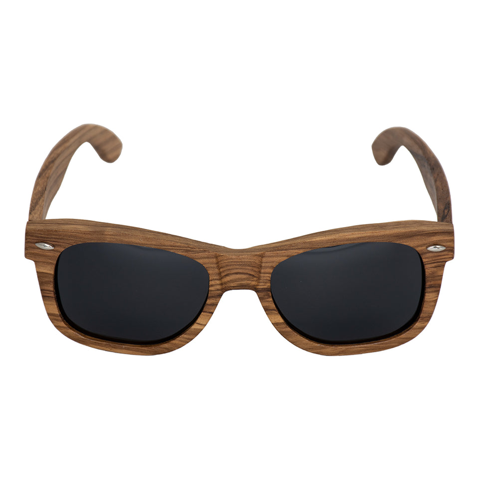 Zebra Frame and Black Polarized Lens Wood Sunglasses