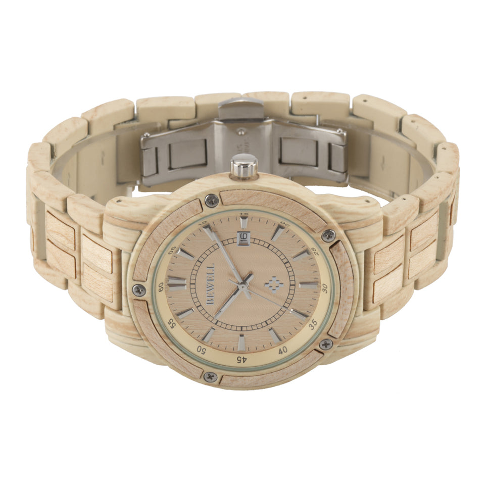 Bewell Luxary Maple Wood Watch