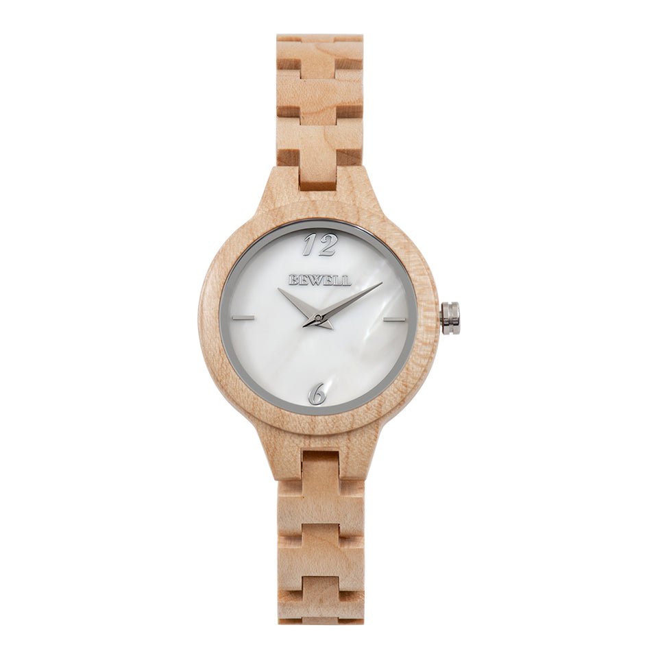 Bewell Women's Classic Maple Wood Watch - Mother of Pearl Dial