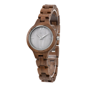 Bewell Women's Classic Bamboo Black Walnut Wood Watch - Mother of Pearl Dial