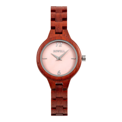 Bewell Women's Classic Bamboo Red Sandalwood Wood Watch - Mother of Pearl Dial