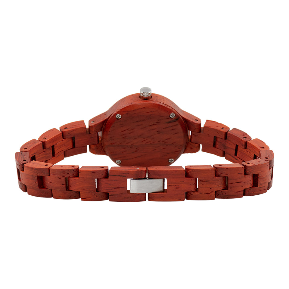 Bewell Women's Classic Red Sandalwood Wood Watch - Mother of Pearl Dial