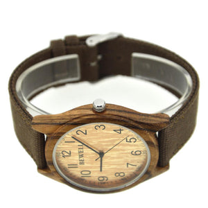 Bewell Canvas Strap Bamboo Wood Watch Brown Zebra Wood Unisex