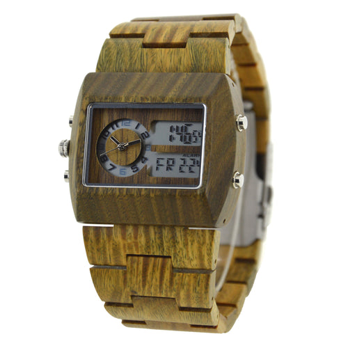 Bewell Analog-Digital Green SandalWood Watch