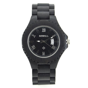 Ebony Bamboo Wood Watch Retro Classic Bewell Date