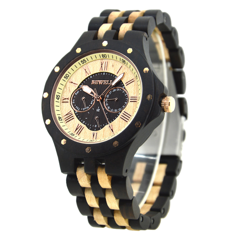 Bewell Chronograph Bamboo Ebony Maple Wood Watch