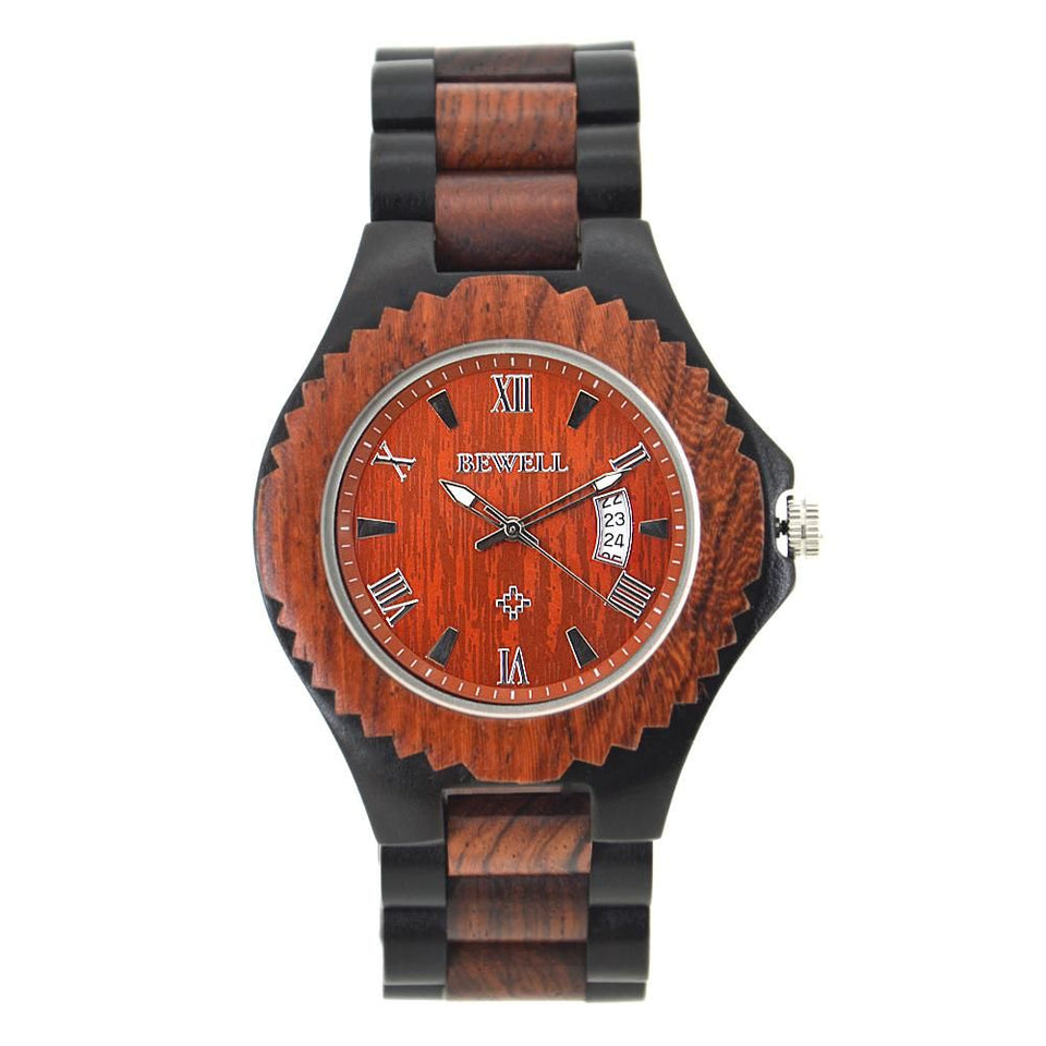 Ebony Red Sandalwood wood Bamboo Wood Watch Retro Classic Bewell Date