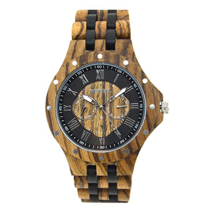 Bewell Chronograph Classic Bamboo Zebra Wood Watch
