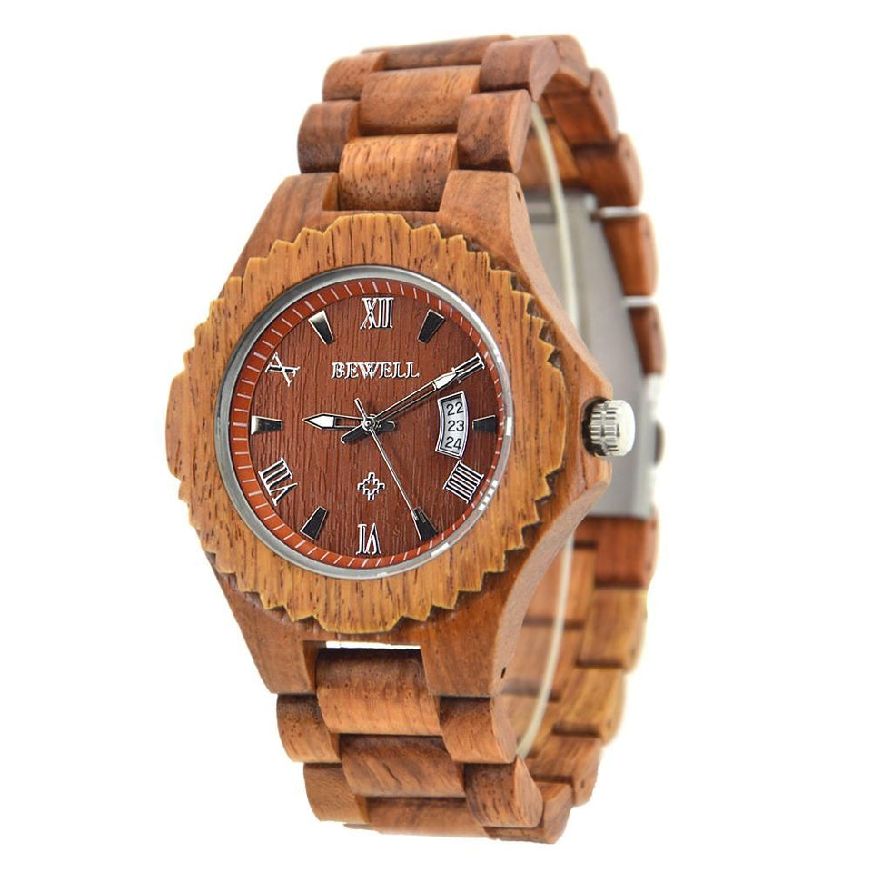 Old Annatto Bamboo Wood Watch Retro Classic Bewell Date