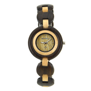Bewell Ladies Black Sandalwood & Maple Wood Watch