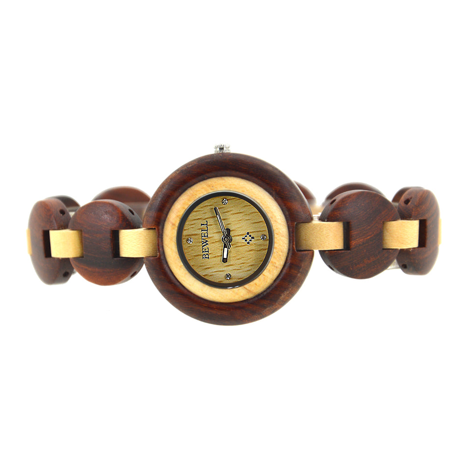 Bewell Ladies Red Sandalwood & Maple Wood Watch