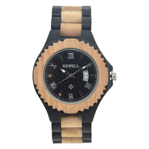 Ebony Walnut Bamboo Wood Watch Retro Classic Bewell Date