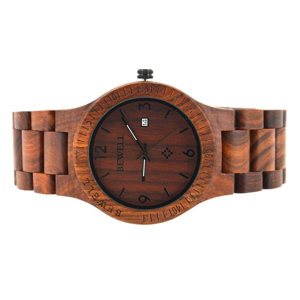 Bewell Classic Retro Bamboo Red Sandalwood Wood Watch Bamboo watch