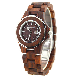 Bewell His & Hers Red Sandalwood Wood Watches