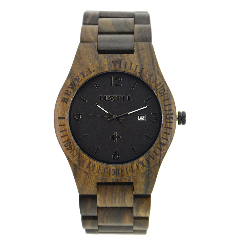 Bewell Retro Bamboo Black Sandalwood Watch