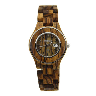Woman Ladies Bewell Bamboo Zebra Wood Watch Her