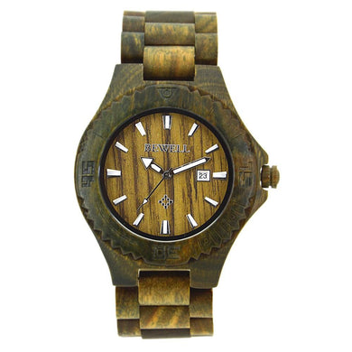 Bewell Men Green Sandalwood Wood Watch Bamboo Watch