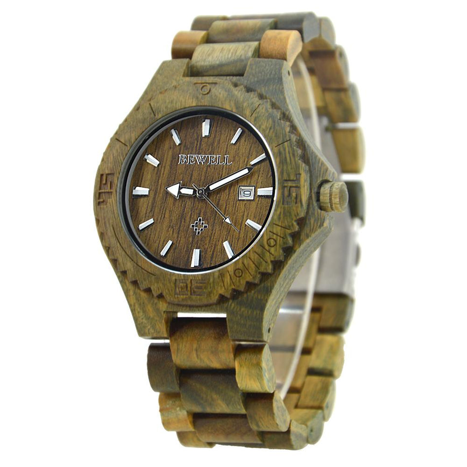 Bewell Classic Bamboo Green Sandalwood Wood Watch