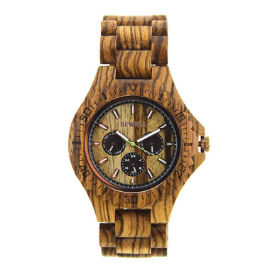 Bewell Chronograph Bamboo Zebra Wood Watch