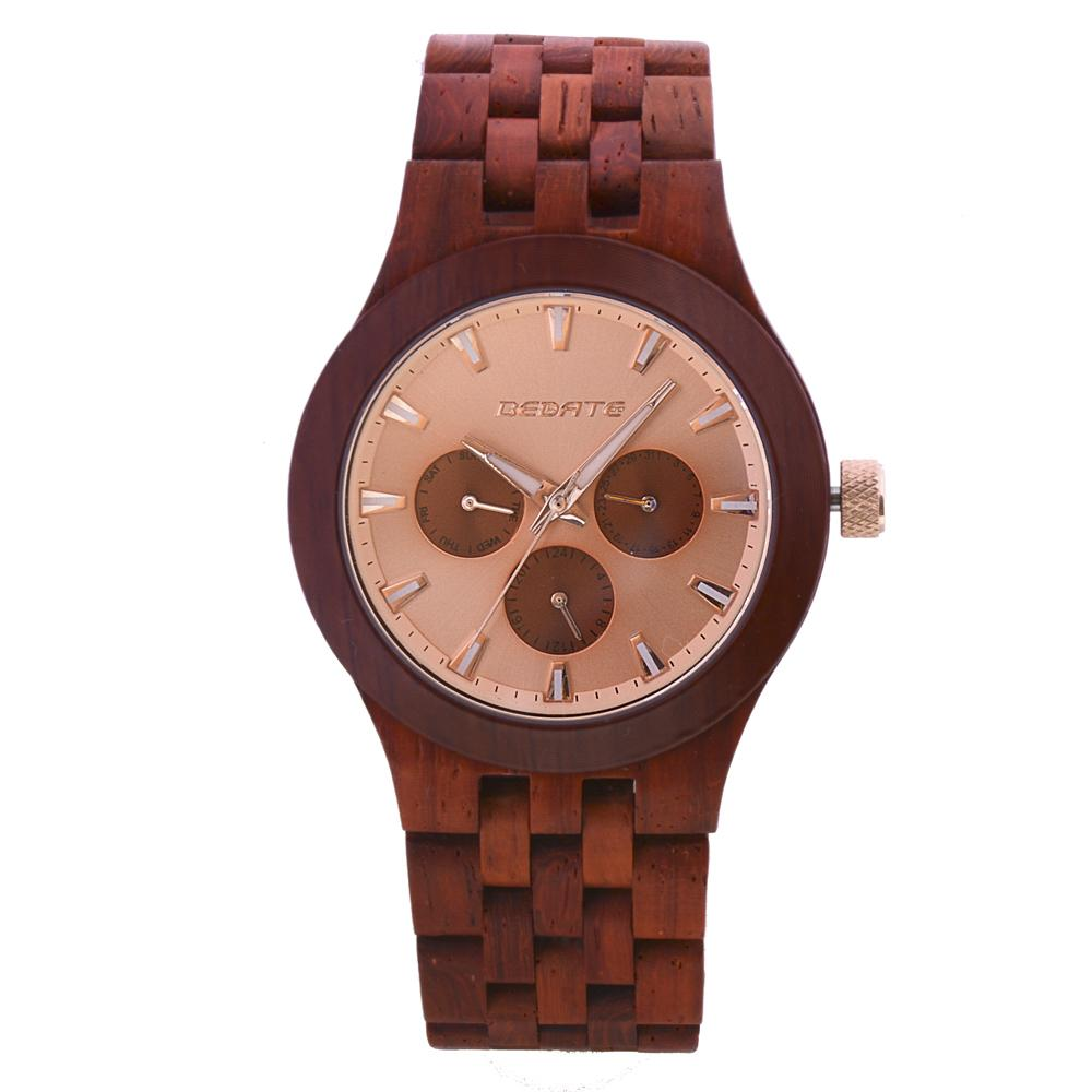Bedate Pink Rose Wood Watch Bewell Bamboo Watch Woman Chronograph