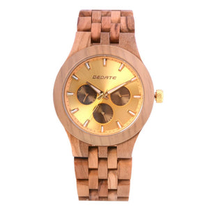 Bedate Gold Maple Wood Watch Bewell Bamboo Watch Woman Chronograph