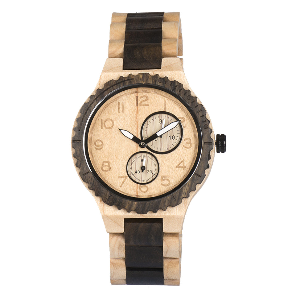 Bewell Classic Maple with Black Sandalwood Watch