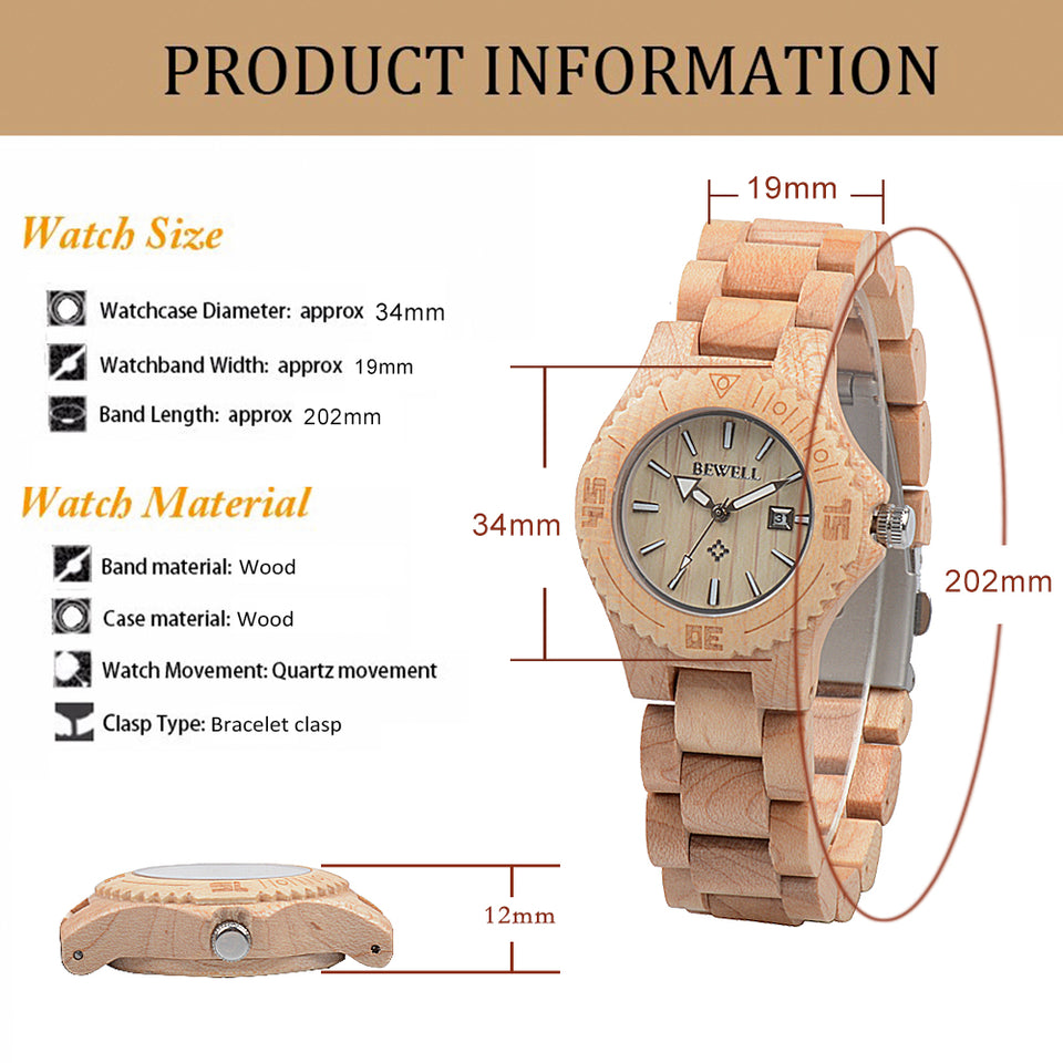Bewell Ladies Black Sandalwood Wood Watch