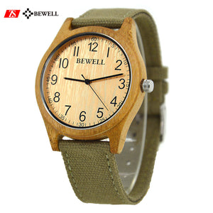 Bewell Bamboo Carbonized Wood Watch with Canvas Strap