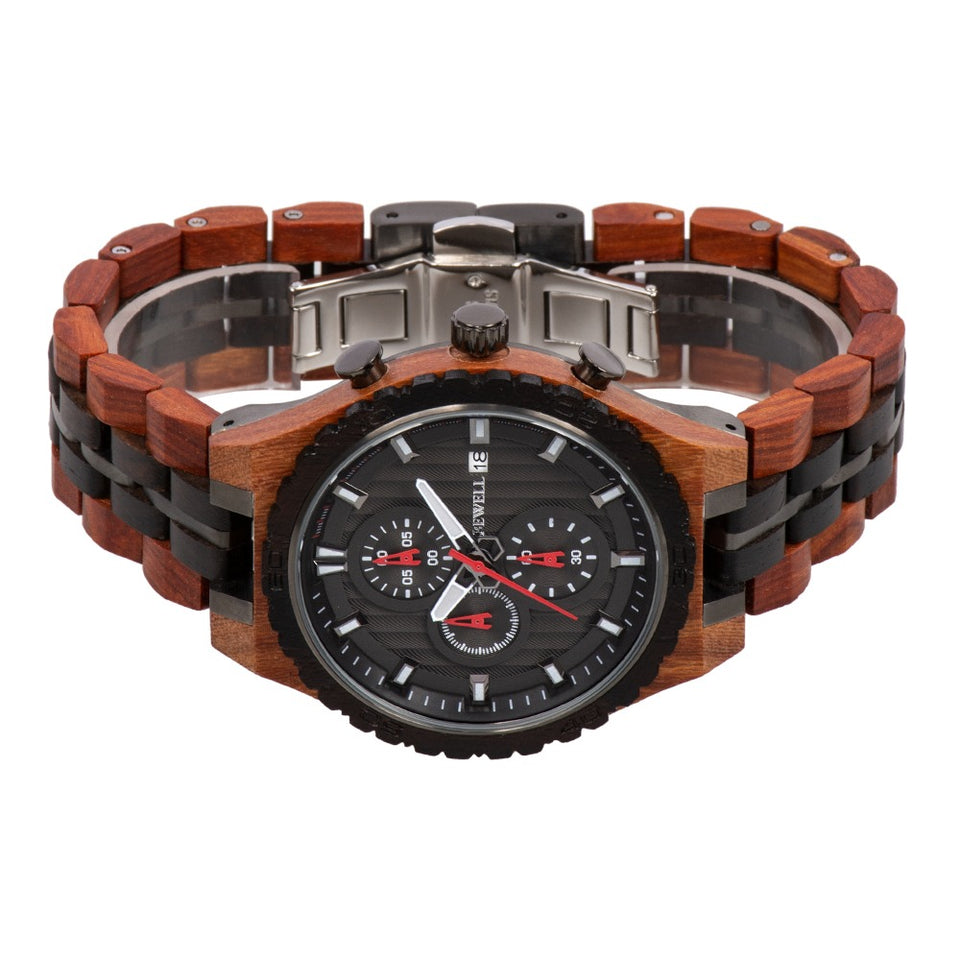 Bewell Chronograph Red Sandalwood and Ebony Wood And Stainless Steel Watch