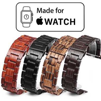 Apple Watch Bamboo Wood Strap. Ebony wood, Sandalwood, Red Sandalwood, Maple wood