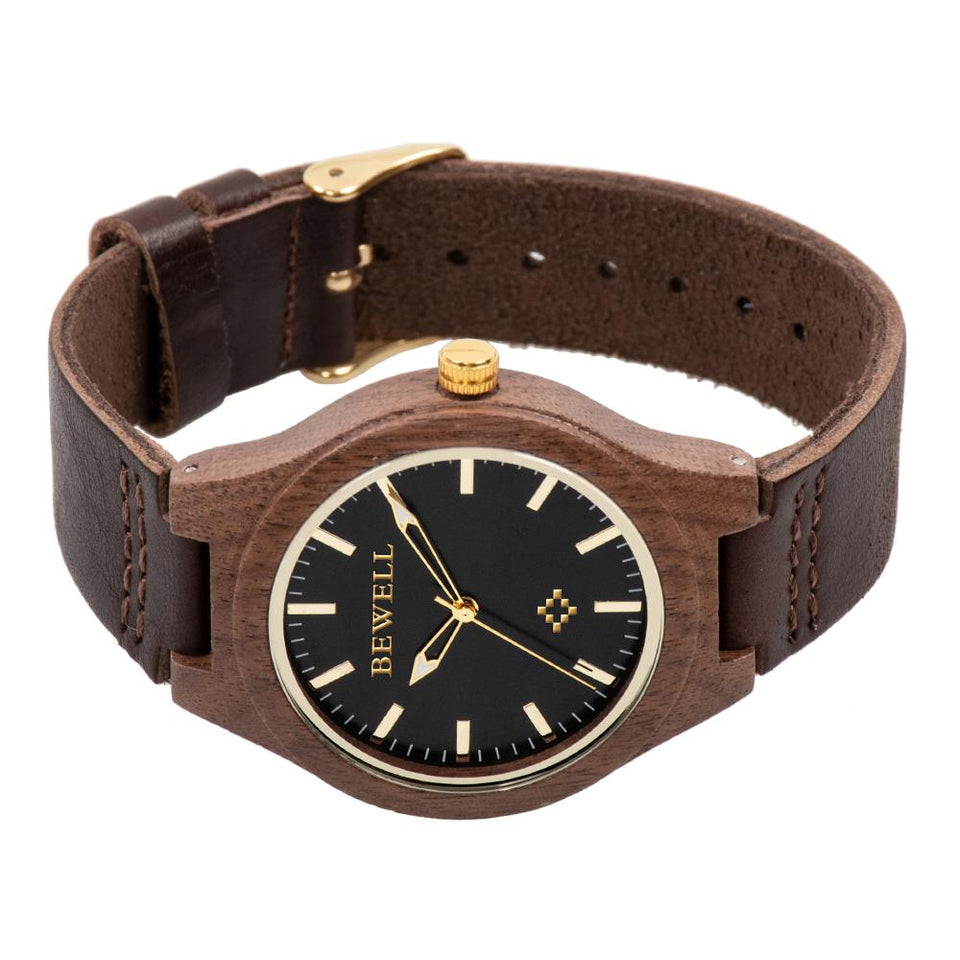 Bewell Black Walnut Wood Watch with Leather Strap