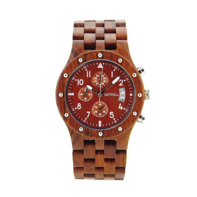 Bewell Chronograph Bamboo Red Sandalwood Wood Watch