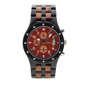 Bewell Chronograph Bamboo Ebony Red Sandalwood Wood Watch