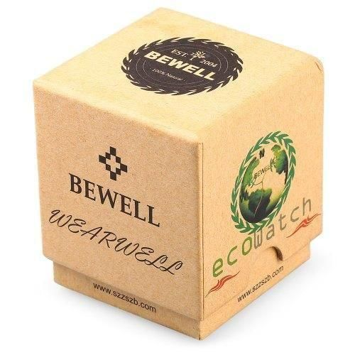 Bewell Canvas Strap Bamboo Wood Watch Green Carbonized Wood Unisex