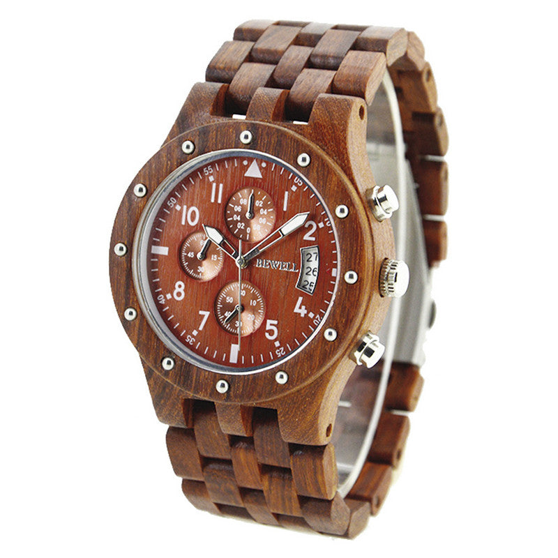 Bewell Chronograph Red Sandalwood Wood Watch