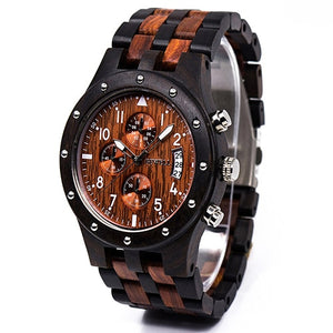 Bewell Chronograph Red Sandal Wood and Black Sandal Wood Watch