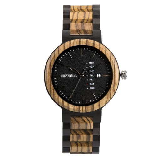 Bewell Retro Black Sandalwood and Zebra Wood Watch