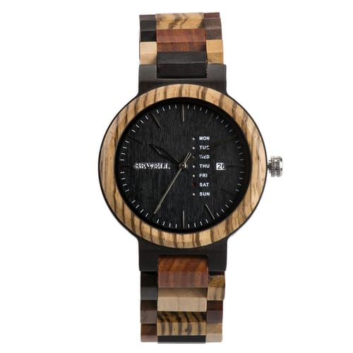 Bewell Retro Black Sandalwood and Mix Wood Watch