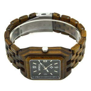 Bewell Black Sandalwood Square Wood Watch